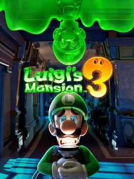 Omslaget till spelet Luigi's Mansion 3 Luigi står i en mörk korridor med en skrämd min och en tänd ficklampa under hakan. Uppochned från taket kikar en grön kopia av Luigi ned.