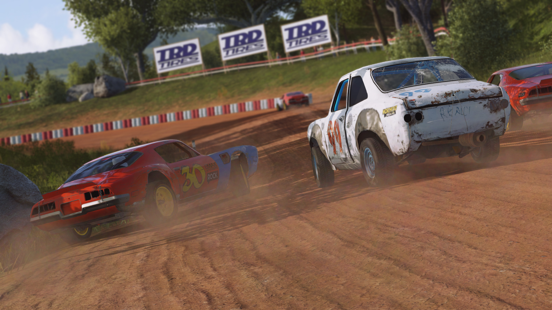 Another screenshot of cars racing in Wreckfest