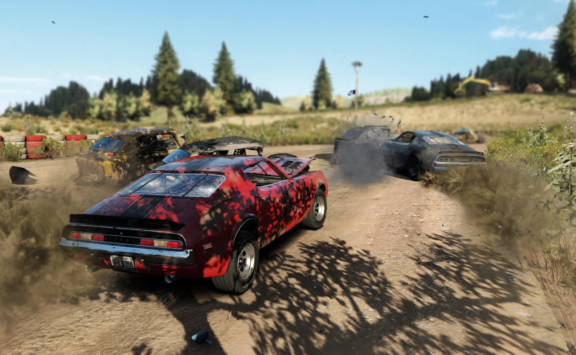 Car wreck on the road in Wreckfest