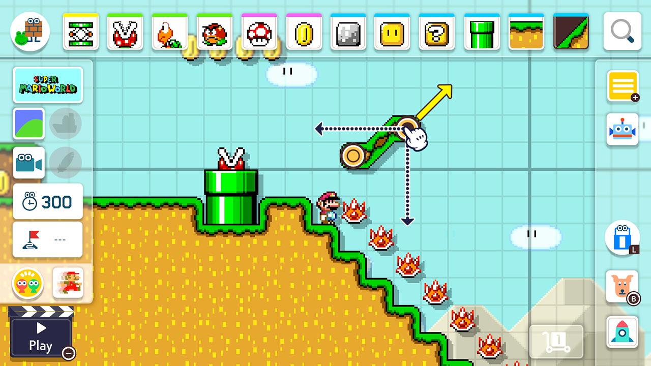 En bild från ban-editorn. Mario befinner sig i en nedförsbacke tillsammans med en rad taggiga fiender. Skärmen ramas in av ikoner för att skapa olika objekt, fiender och underlag.