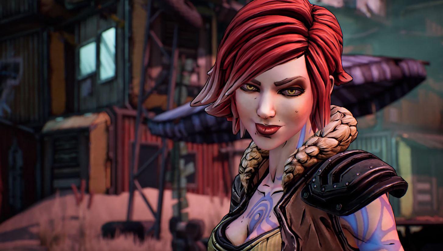 Karaktären Lilith – en kvinna med rött, kort hår och blå, abstrakta tatueringar.