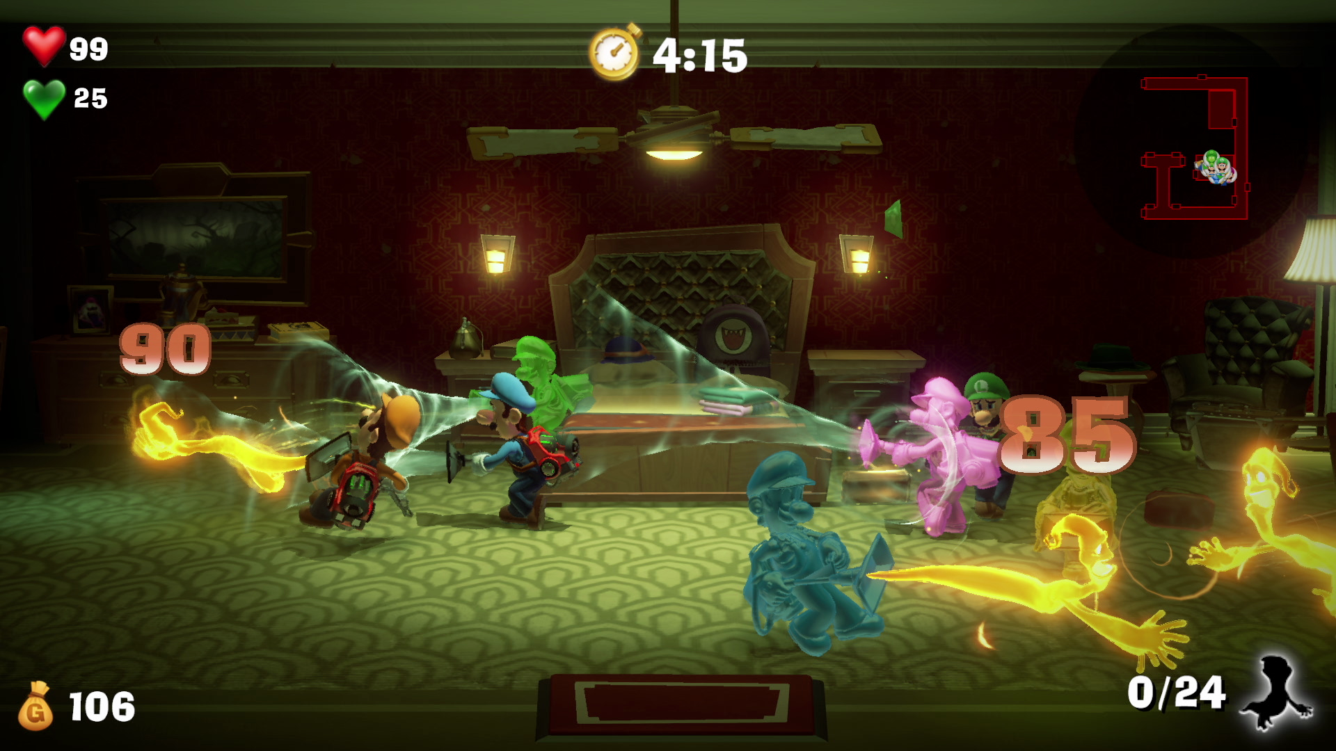 Flera slem-Luigis i olika färger jagar guldspöken i en salong.