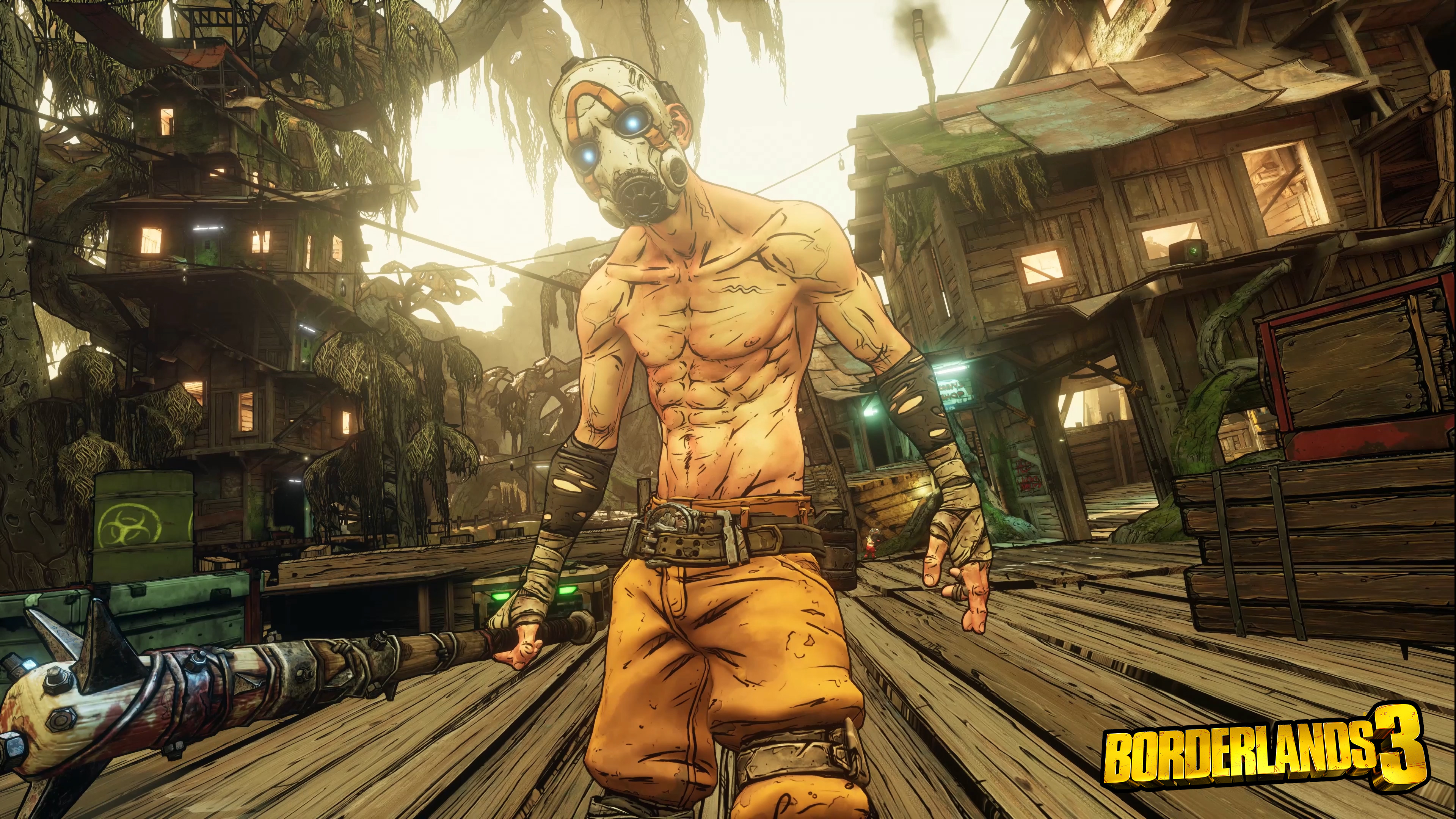 En Bandit i gasmask, gula byxor och bar överkropptittar mot kameran med en spikklubba i handen. I bakgrunden ser man en stad av träkojor.