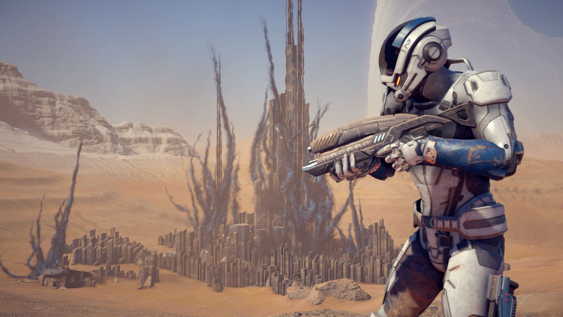 A Mass Effect Andromeda character awaits combat