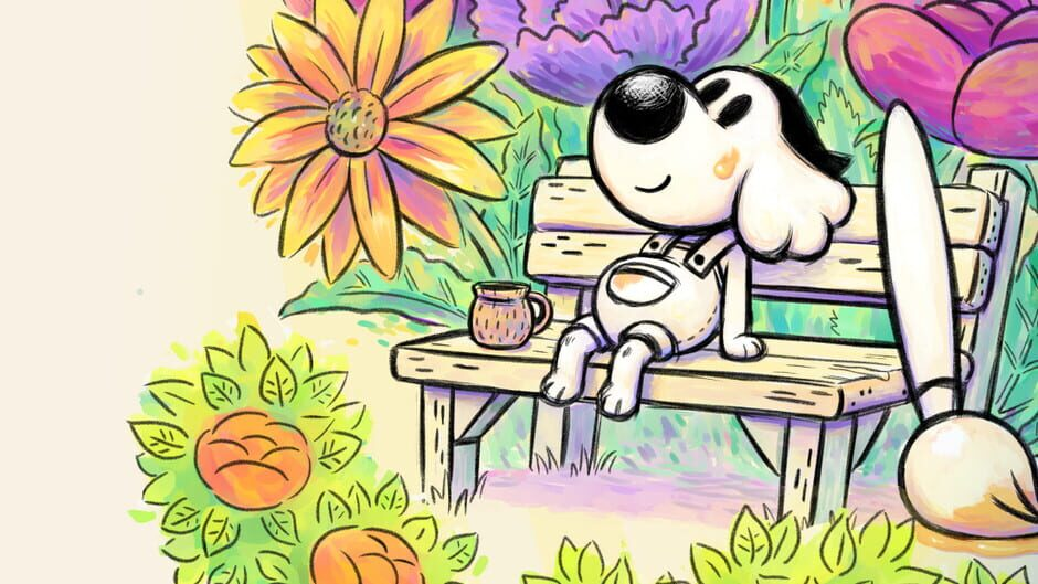 The main character of Chicory sitting on a bench with a giant paint brush.